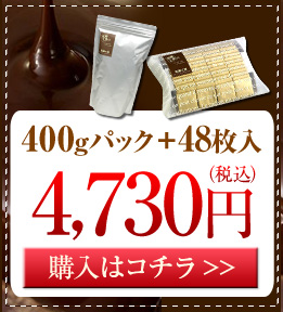 糖質オフ スイートチョコレート400gパック+48枚入